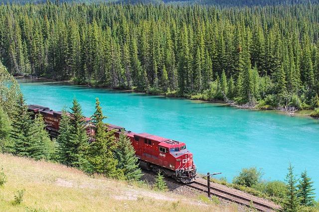 鉄道, エンジン, ボウ川, バンフ, アルバータ州, カナダ