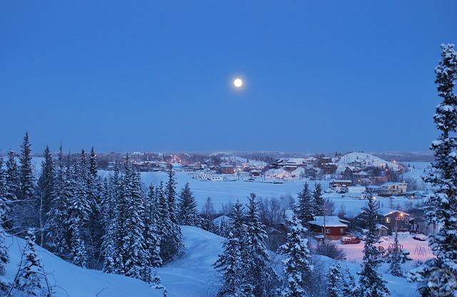 イエロー ナイフ ノースウェスト準州 冬 泊 カナダ 月 雪 木